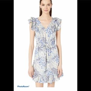Rebecca Taylor silk Ava blue floral v neck dress